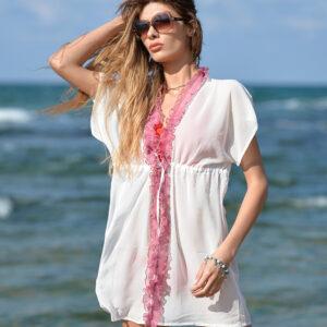 Beyaz Bikini Üstü Plaj Elbise Pareo