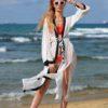 Siyah Beyaz Kaftan Plaj elbisesi