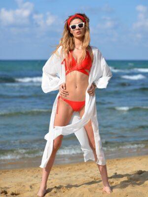 Beyaz Yırtmaçlı Şifon Kaftan Pareo Elbise