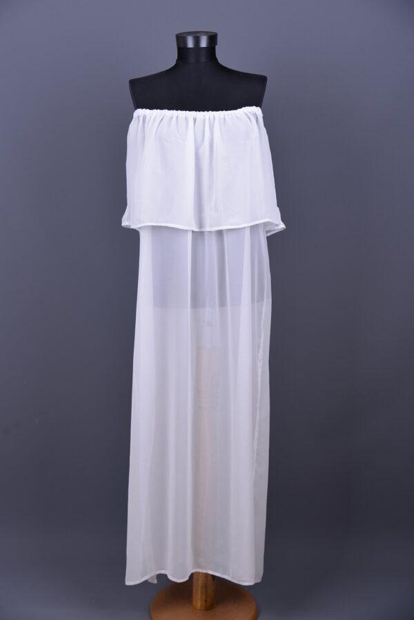 Omuzdan Lastikli Uzun Beyaz Pareo