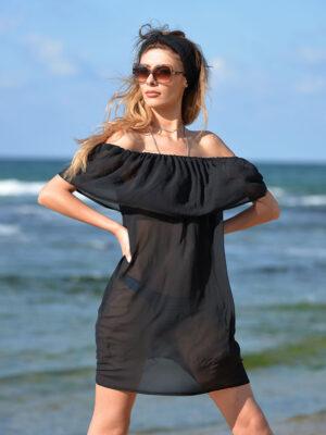 Kısa siyah pareo elbise