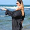 Siyah Şifon Kaftan Pareo Elbise
