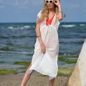 Uzun beyaz pareo elbise