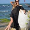 Uzun siyah pareo plaj elbisesi